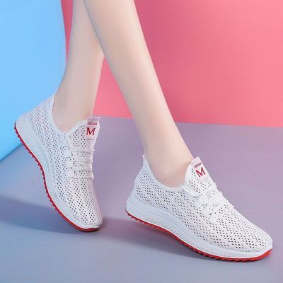 新款韩版老北京网鞋女士跑步运动鞋网红轻便休闲网鞋防滑软底单鞋
