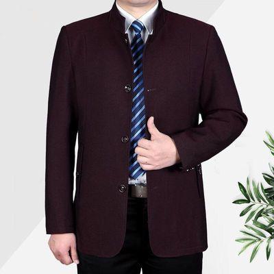 中老年男装夹克男春秋款商务爸爸装中年男士立领外套春季休闲上衣