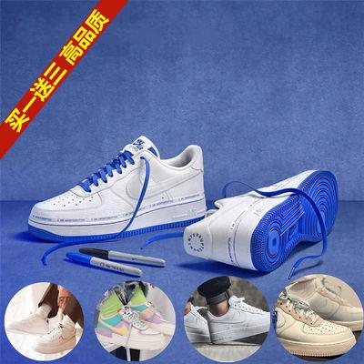 NIKE 耐克顿空军-一号运动鞋男鞋联名蓝白女鞋雾霾蓝德文布克板鞋