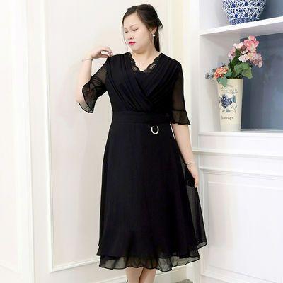 加肥加大码女装秋装新款胖mm中长款长裙气质显瘦雪纺V领女连衣裙