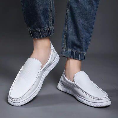 夏季新款真皮豆豆鞋男潮流百搭懒人一脚蹬白色休闲皮鞋透气镂空鞋