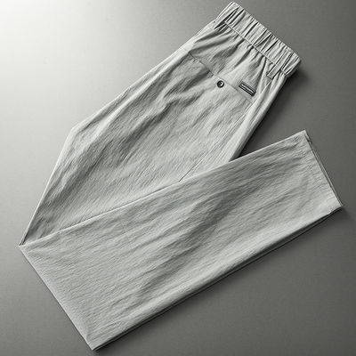 修身显瘦休闲裤男潮流百搭松紧腰男士直筒西裤夏天薄款韩版长裤男