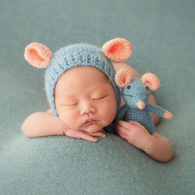 儿童摄影服装 影楼新生儿满月宝宝帽子主题拍照玩偶道具针织老鼠