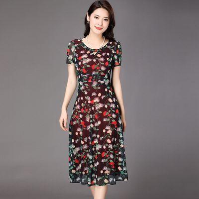 华 哥弟情品牌中年连衣裙加大码夏天妈妈高贵气质弹力短袖碎花裙