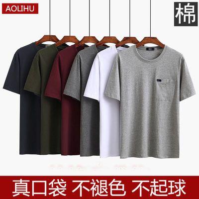 夏季中年短袖t恤衫男士圆领半袖宽松中老年人有口袋爸爸装汗衫