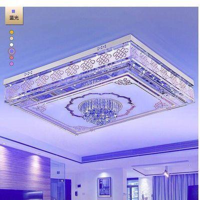 LED七彩离线语音控制水晶灯长方形客厅灯餐厅灯卧室灯吸顶灯包邮