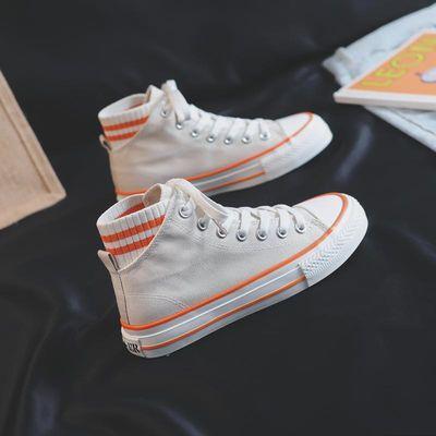 高帮帆布鞋女2020新款女鞋平底单鞋夏季学生韩版百搭ins原宿板鞋