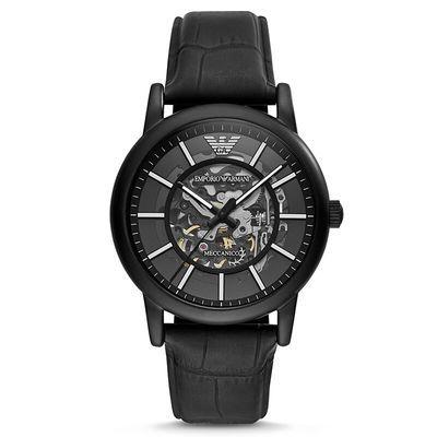 阿玛尼(EmporioArmani)皮表带经典时尚镂空机械男士手表AR60008