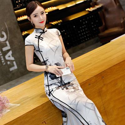 改良版旗袍连衣裙年轻款少女2020新复古中国风旗袍中长款气质优雅