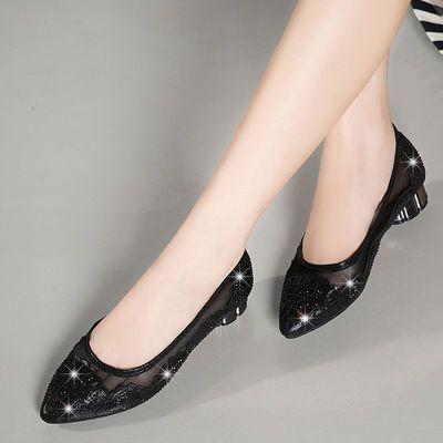 【买1送4】镂空单鞋平底粗跟尖头大码低跟水钻网纱包头真皮凉鞋女