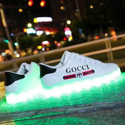 光特防水充电抖音发光鞋男女鬼步鞋情侣街舞鞋学生儿童夜光板鞋潮