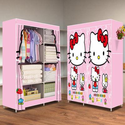 全景新款简易布衣柜钢管加粗加固收纳柜简约现代衣橱挂衣柜衣架