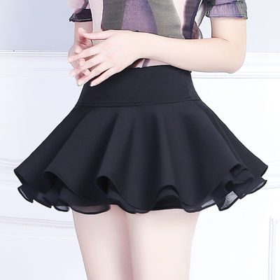 超短裙女高腰安全裤无内衬小裙子迷你小个子蛋糕裙百褶蓬蓬半