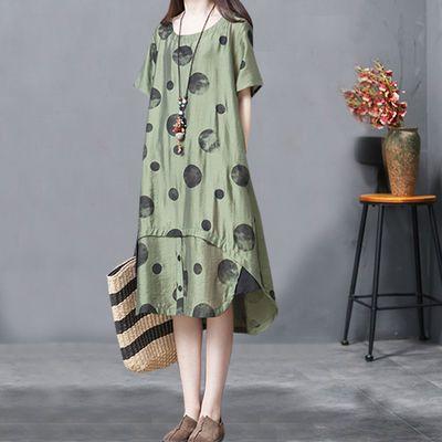 正品2020夏季新韩版复古宽松大码中长款不规则时尚丝棉麻连衣裙女
