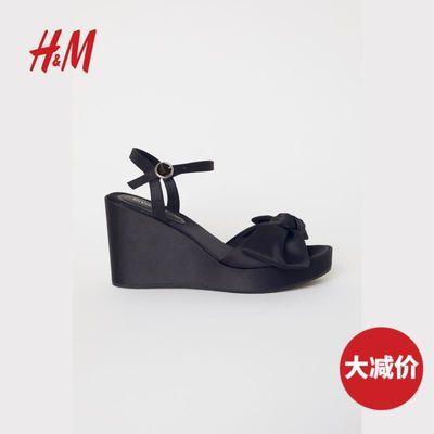 HM DIVIDED女鞋秋冬新款蝴蝶结缎质防水凉鞋0645134