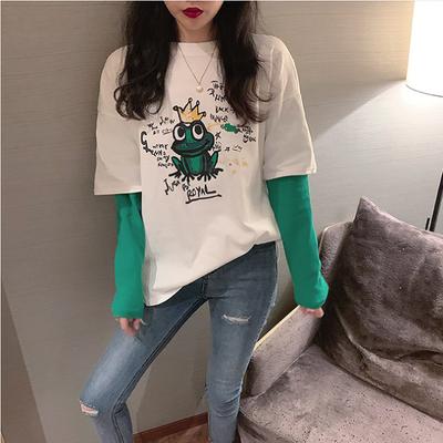 含棉春秋装2020新款韩版宽松长袖t恤女学生百搭假两件上衣打底衫