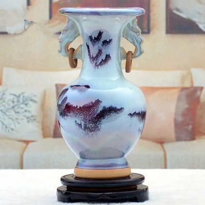 现代古典陶瓷工艺品花瓶家居摆件客厅电视柜酒柜装饰品钧瓷双耳瓶