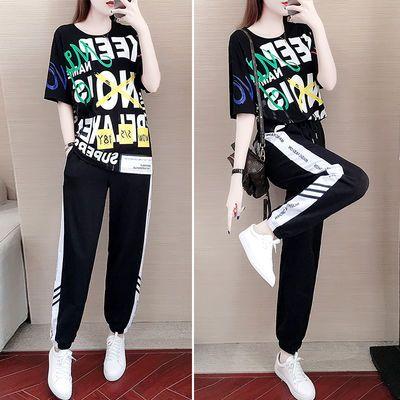 运动套装女夏2020新款宽松韩版休闲运动服洋气显瘦裤子两件套学生