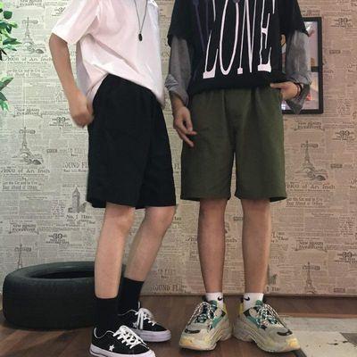 夏季韩版ins潮流裤子纯色百搭五分裤宽松直筒裤运动休闲短裤男女