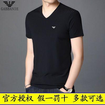 正品乔奇·阿玛尼短袖T恤男士纯色V领棉体恤中青年潮牌男装上衣服