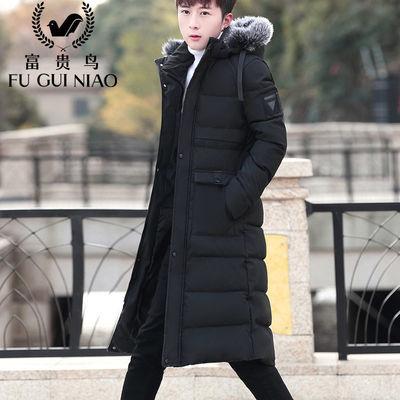 富贵鸟长款棉衣男过膝中青年修身棉服男士连帽冬季外套男棉袄加厚