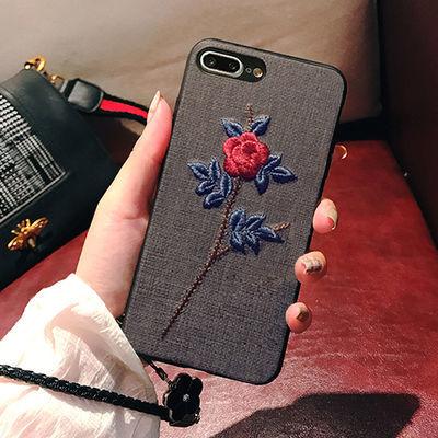 iPhone刺绣花苹果6手机壳7plus挂绳6s保护套8女防摔X硅胶plus软壳