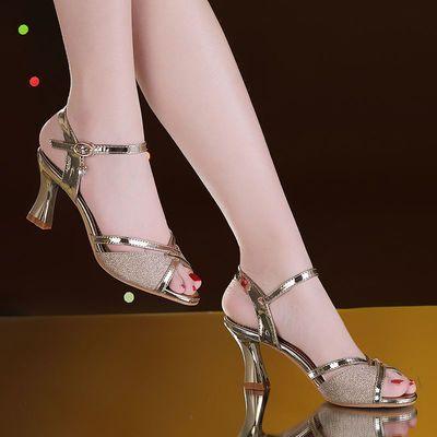清仓2020夏季新款凉鞋女高跟一字扣凉鞋百搭金色粗跟凉鞋鱼嘴鞋女