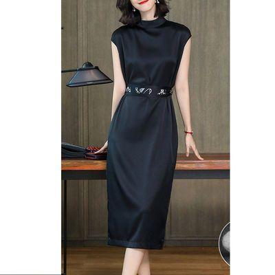 仿真丝连衣裙女夏季2020新款高档时尚大码气质显瘦中长款a字裙子