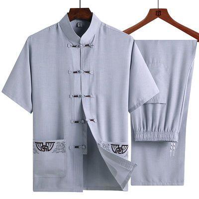 万字绣花中国风唐装男中老年短袖套装中式盘扣老人衣服爷爷爸爸装