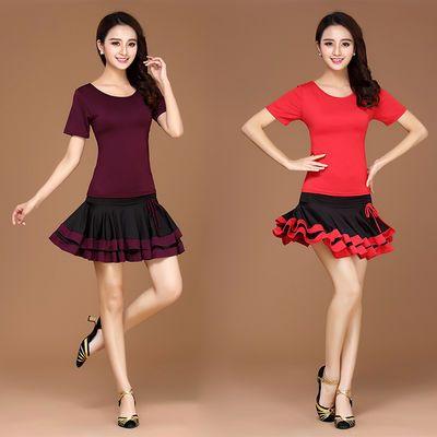 广场舞服装夏季新款短袖套装成人拉丁舞练功服跳舞蹈衣服短裙套装