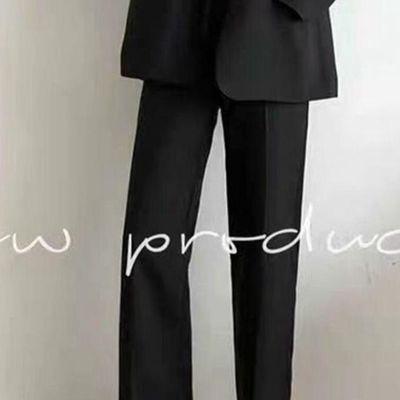 西装裤女直筒宽松垂感阔腿高腰显瘦黑色九分休闲百搭春秋季女裤子