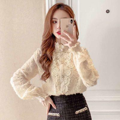 蕾丝衬衫女秋冬内搭2021年新款欧版时尚立领百搭灯笼袖衫长袖上衣