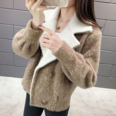 秋装2020新款韩版短款宽松开衫女仿貂绒大衣针织衫短外套毛衣女潮