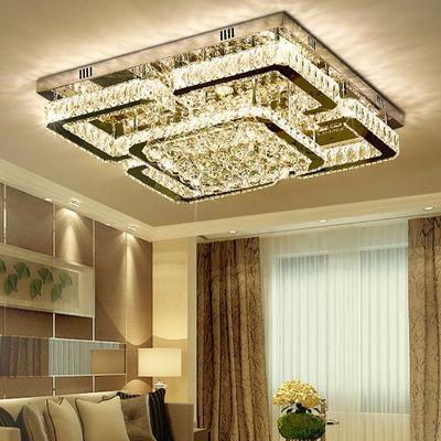 上门安装 led水晶吸顶灯客厅灯长方形大厅遥控主卧室餐厅套餐灯具