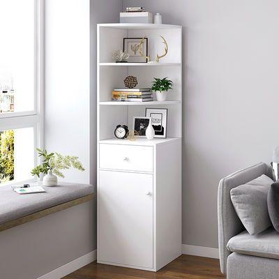 简易书架置物架 卧室 多功能收纳架子墙角书柜书架落地多层储物柜