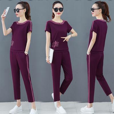 罗马棉休闲运动套装女夏季2020新款韩版短袖上衣时尚九分裤两件套