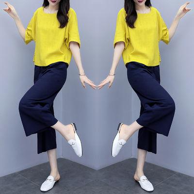 时尚棉麻套装女2020春夏新款宽松女装阔腿裙裤亚麻休闲两件套大码