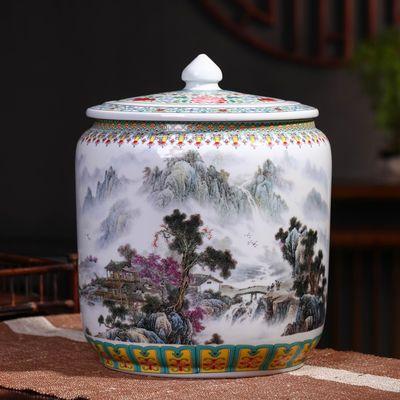 景德镇陶瓷米缸茶叶罐20斤30斤带盖家用防潮防虫储物罐陶瓷花盆