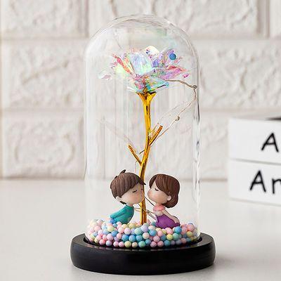 永生花玻璃罩母亲节情人节玫瑰花透明创意小夜灯生日礼物高端礼品