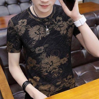 2020秋男士短袖t恤圆领男装个性印花韩版修身百搭t恤男士长袖体恤