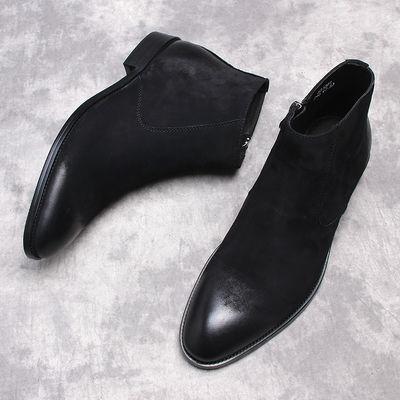 秋冬季英伦尖头磨砂真皮拉链短靴加绒棉靴马丁靴商务休闲高帮皮鞋