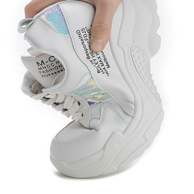 内增高女鞋7cm2020春季新款厚底运动鞋百搭小白鞋透气网面休闲鞋
