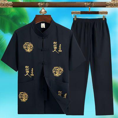 中老年人短袖唐装男士套装中年爸爸夏装60岁70爷爷夏季衣服中国风