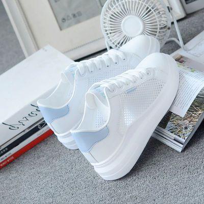 2020夏季新款鞋子女学生韩版百搭透气薄网运动鞋厚底原宿风小白鞋