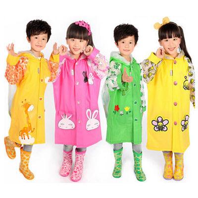 [开学特惠]蓝蚂蚁正品时尚儿童雨衣学生男女小孩雨具带书包位雨披