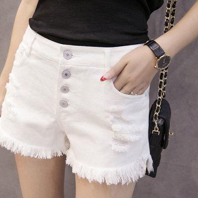 68054/【夏季】新款潮流修身牛仔短裤中腰破洞毛边热裤