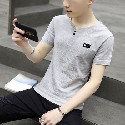 夏季男士短袖T恤韩版潮流修身棉麻T恤v领半袖青年上衣男装夏