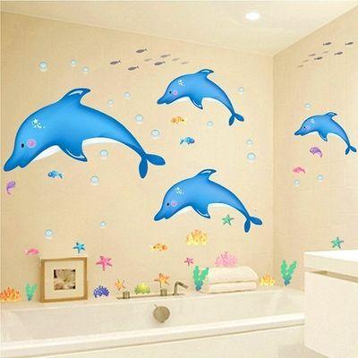 儿园游泳馆防水墙贴纸可移除夏日海洋鱼海豚墙贴自粘浴室卫生间幼