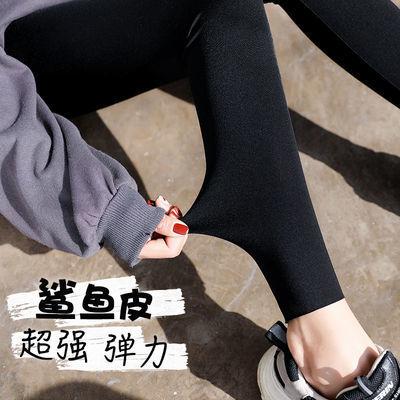 鲨鱼皮打底裤女春夏季外穿高腰薄款黑色九分液体运动瑜伽紧身裤子