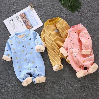 婴儿连体衣冬季加绒加厚保暖哈衣男女宝宝睡衣服新生儿爬服0-1岁